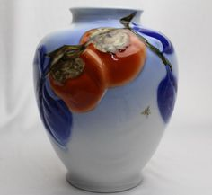 This Japanese Fukagawa porcelain vase of persimmons in relief is from the family of some of the finest modern porcelains from Arita that dates back to Porcelain Jewelry, Fine Porcelain, Porcelain Ceramics, Japanese China, Asian Art, Vintage Jewelry, Pottery, Christmas Ornaments, Antiques