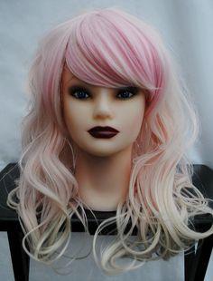 STRAWBERRY CUPCAKE wig // Pastel Ombre // Pink Blonde Hair // Long Wavy Sweet Lolita wig. $104.00, via Etsy.