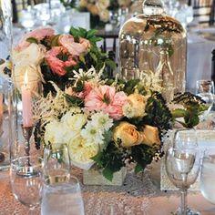 garden roses, astilbe, peach, yellow, pink, short