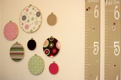 Fabric rings and home-made growth charts.  I am not very crafty and these projects where fun and easy...Perfect for my little girls' room.