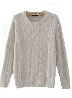 Beige Round Neck Long Sleeve Sweater