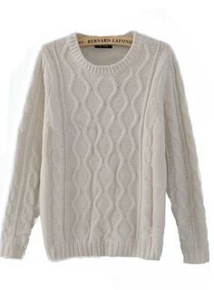 want big sweaters!!!  Gonna go hit up the old man section of Salvation Army soon... Beige Round Neck Long Sleeve Sweater