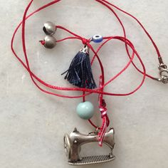 Metal sewing machine charm, necklace