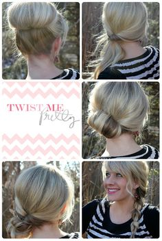 """This blog has really easy and cute medium/long hair updo styles!--Twist Me Pretty: Topsy Tail Revisited- high bun pin now read later"" I'm def going to check that out"