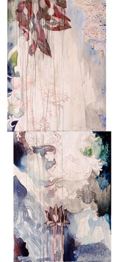 Title: Day to Day III, 2010  Medium: watercolour, wax and drawing on board  Size: 122 x 46 cm