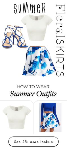 """""""Summer Blue Themed Outfit"""" by kittykake555 on Polyvore featuring Charlotte Russe, Schutz and Floralskirts"""