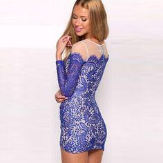 Sexy See-through Gauze Spliced Irregular Hem Long Sleeve Slim Fit Dress