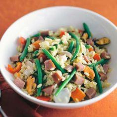 605 kcal. 30 min. Winterse paella met rookworst