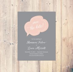 Printable Speech Bubble Save the Date Card by PristinePapersShop