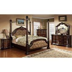 Monte Vista II Dark Walnut Brown King Canopy Bed