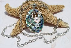 Abalone Pendant Necklace Mother of Pearl by ornatetreasures, $35.80