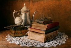 Still life with old books