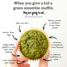 Green Smoothie Muffins Loaded with nutrient-dense greens, naturally sweetened with bananas and a little honey/maple syrup, and packing an extra punch of fiber-rich rolled oats for good measure…a new breakfast favorite was born. Healthy Muffin Recipes, Baby Food Recipes, Healthy Snacks, Snack Recipes, Cooking Recipes, Healthy Muffins For Kids, Toddler Veggie Muffins, Toddler Recipes Healthy, Kid Veggie Recipes