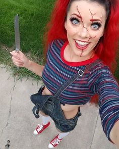 Time For Horrifying Look In Chucky Halloween Costume - Halloween Makeup Halloween Outfits, Halloween Costumes Women Scary, Chucky Halloween, Best Friend Halloween Costumes, Halloween Tags, Disney Halloween, Jigsaw Halloween Costume, Halloween 2019, Jigsaw Costume Women
