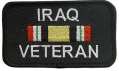 "[Single Count] Custom and Unique (2"" by 3 1/2"" Inches) Rectangle Iraqi War Vet Patriotic Iraq Veteran Text Iron On Embroidered Applique Patch {Red, Green, Gold & White Colors}"