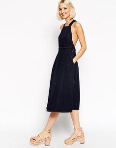 ASOS Denim Midi Dress with Cross Back