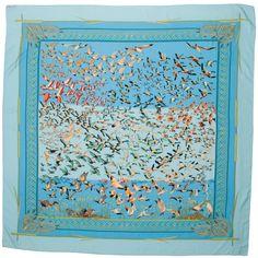 Hermes shawl Libres Comme l'Air lt. blue