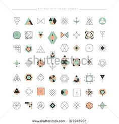 Big Set of minimal geometric shapes. Business signs, labels, trendy hipster icons and logotypes. Religion, philosophy, spirituality, occultism symbols collection