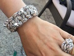 Paracord Armband mit Ring Totenkopf