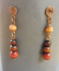 Earrings with wooden beads  Jungle Drops by Kieritivity on Etsy