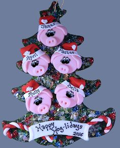 Pig Family Personalized Tree of 5
