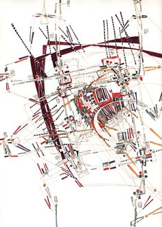 Quantification simple des connexions redondantes et mesure des infrastructures  42x28cm (extract of 100x75cm drawing watercolor)