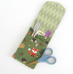 Crochet Hooks Case Knitting Needles 8 inch DPNs Pouch Circular Needles Storage Case - Forest Animals