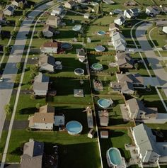 Terry Evans, Backyard Pools, Frankfort Square, Will County September Archival Inkjet Print, printed ca. San Myshuno, The Truman Show, Blue Neighbourhood, Black Mirror, Small Towns, Exterior, City, Places, Inspiration