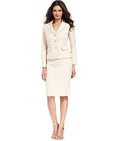 Evan Picone Three-Button Textured Skirt Suit