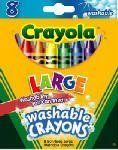 Crayola Growing Kids Large Crayons - 8/Pkg by CRAYOLA. $3.63. The crayons you remember from your childhood. Eight bright, washable, bold colors! Recommended fo. Crayola, 8 Count, Large Washable Kid's First Crayons, Washes Off Wall Surfaces, Clothing & Upholstery.