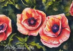"""Poppies Sunlit Blooms"" 5"" x7 "" Watercolor Original – Christy Sheeler Art.  Summer's beauty captured as if we are in the garden.  Pin now and shop later.  Click to see more!"