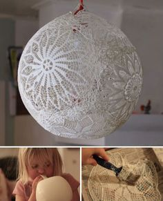 easy to make lace globes. Hang small ones over a string of lights - beautiful