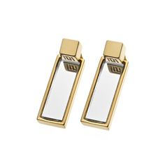 "Gold or rhodium plated 1.5"" long double rectangle mirror and cube earrings...Engraved with Stella Valle logo...Made in USA"