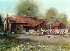 Country Cabin Painting - Clothes Line by Charles Roy Smith Abandoned Farm Houses, Old Houses, Barn Pictures, Pretty Pictures, Pretty Pics, Farm Paintings, Landscape Paintings, Farmhouse Paintings, Landscape Sketch