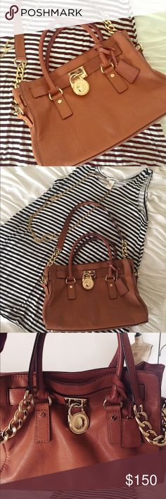 Michael Kors hamilton brown purse Very classic hamilton Michael kors used still in great condition except a lil stain in front & a lil stain inside but got it all clean it looks vert neat still my favorite but it has to go..she needs a new home💕❤️ Michael Kors Bags Satchels