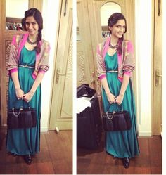 How To Style Maxi Dresses - Bollywood Style. Another one from Deepika Padukone - this one is a beautiful pastel, flowy chiffon maxi dress that Sonam Kapoor, Western Outfits, Indian Outfits, Indian Clothes, Indian Dresses, Bollywood Fashion, Bollywood Actress, Bollywood Outfits, Bollywood Style