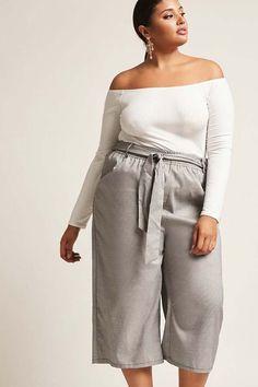FOREVER 21+ Plus Size High Rise Wide Leg Capri Pants #fashion #Plussize #ad #womenswear