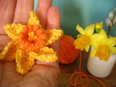 Crochet Daffodils - free pattern from Lucy at Attic24