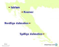 Kort Kroatien, med Regioner