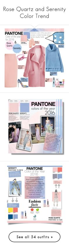 """""""Rose Quartz and Serenity Color Trend"""" by yours-styling-best-friend ❤ liked on Polyvore featuring Roland Mouret, Thierry Mugler, Clinique, Clarins, Shiseido, Yves Saint Laurent, Michael Costello, Carolina Herrera, pantone and 2016"""