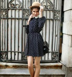 Vogue Lapel Dots Printed Long Sleeve Casual Dress Blue