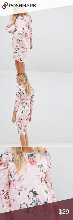 Maternity midi dress with puff sleeve in floral Brand new with tags!  Stretch woven fabric Floral print Crew neck Puff sleeves Slim fit - cut close to the body Designed to fit through all stages of pregnancy Machine wash 95% Polyester, 5% Elastane ASOS Maternity Dresses Midi