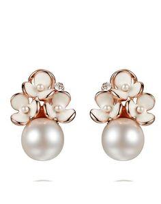 Rose Gold White Flower Pearl Stud Earrings