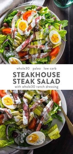 This salad is stacked with protein… Steak Salad Steakhouse Style. This salad is stacked with protein and flavor, and you'll keep this in your paleo salad rotation! Paleo Salad Recipes, Whole Food Recipes, Diet Recipes, Healthy Recipes, Paleo Food, Whole30 Recipes, Paleo Meals, Vegetarian Meal, Paleo Vegan