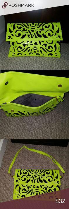 Fluorescent envelope/shoulder bag! Beautiful fluorescent envelope clutch bag that can covert into adjustable shoulder bag! Hollow out design black/fluorescent yellow. Bags Clutches & Wristlets