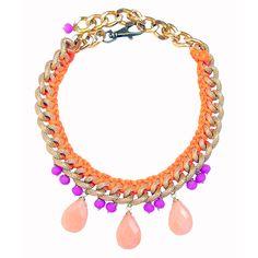 Jia Necklace Orange Purple by Clare Hynes Jewellery