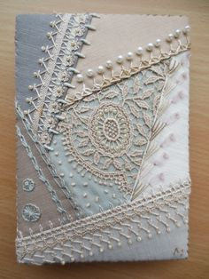 An elegant Crazy Quilt small notebook. It is excellent! I would not dare to write anything in it. Crazy Quilting, Crazy Quilt Stitches, Crazy Quilt Blocks, Quilting Ideas, Ribbon Embroidery, Embroidery Stitches, Embroidery Designs, Small Notebook, Diy Notebook Cover