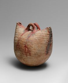Basket Vessel Period: New Kingdom Dynasty: Dynasty 18 Date: ca. Geography: From Egypt Medium: Clay, buff pottery Dimensions: H. 9 cm in); Ceramic Clay, Ceramic Plates, Ceramic Pottery, Pottery Art, Pottery Place, Ceramic Teapots, Pottery Ideas, Ancient Artifacts, Ancient Egypt