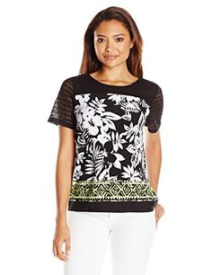 Alfred Dunner Womens Petite Floral Knit Top with Border Print Black PetiteMedium >>> You can get more details by clicking on the image.