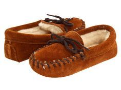 Minnetonka Kids Pile Lined Slipper (Toddler/Little Kid) Brown Suede - Zappos.com Free Shipping BOTH Ways